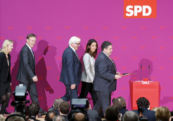 Leader of the Social Democratic Party Gabriel and party members arrive for news conference in Berlin