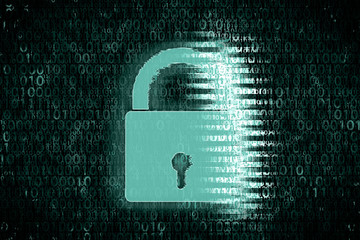 Concept image of Encrypted data in computer. Bright lock in front of digital green background