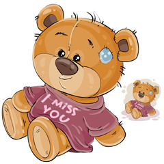 Vector illustration of a brown teddy bear dressed in a T-shirt with the inscription I miss you. Print, template, design element