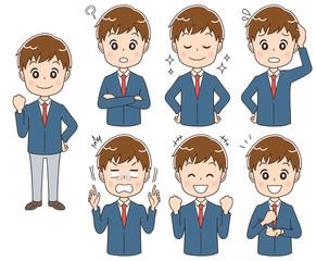 男子高校生のイラスト(セット・全身)
