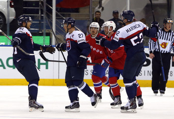 Slovakia's Nagy celebrates his goal against Norway with team mates during the second period of their men's ice hockey World Championship group A game at Chizhovka Arena in Minsk