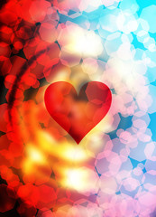 Heart shape in the color space, abstract graphic collage background.