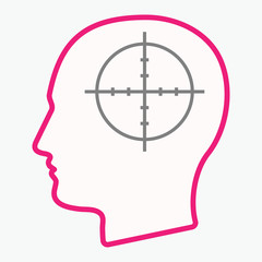 Isolated  head with a crosshair