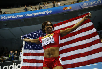 McCorory of the U.S. celebrates after winning gold in  women's 400m at world indoor athletics championships in Sopot