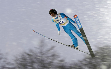 Jacobsen from Norway soars through air during Ski Jumping World Cup in Oberstdorf