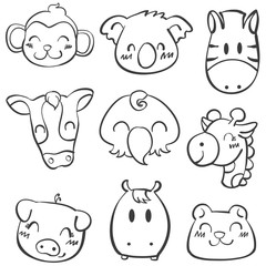 Doodle of animal style cartoon