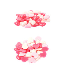 Pile of heart shaped beads isolated