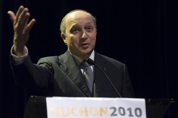 Former French prime minister Laurent Fabius, delivers a speech during a campaign rally for the upcoming regional elections in Sarcelles, near Paris