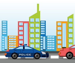 cars transiting for the city, vector illustration