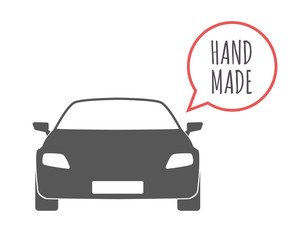 Isolated car with    the text HAND MADE