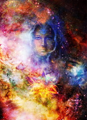 Goddess Woman and ornamets in Cosmic space. Cosmic Space background. eye contact.