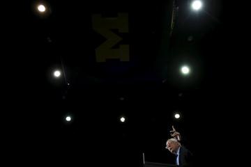 U.S. Democratic presidential candidate Bernie Sanders speaks at a campaign rally in Ann Arbor
