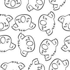 Animal head vector art of doodles
