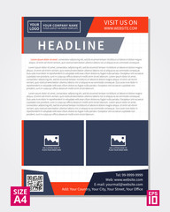 Vector flyer, poster, leaflet, annual report design template with sample text. Layout design, A4 paper design template, fully layered design, business vector illustration, presentation.