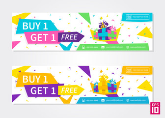 Vector colorful promotion banner Buy 1 Get 1 Free. Business offer flyer template.
