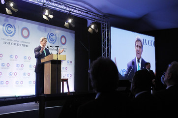 U.S. Secretary of State Kerry delivers a speech at the U.N. Climate Change Conference COP 20 in Lima