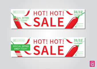 Vector promotion banner Hot Sale. Business offer flyer template with chilli pepper ilustration.