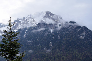 Karwendel Mountain on cloudy day. View from Mittenwald, Bavaria, Germany