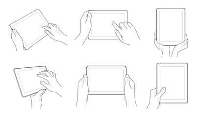 Outline vector tablet in hand