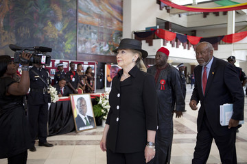 U.S. Secretary of State Clinton arrives for the funeral of Ghana's late President Mills in Accra, Ghana