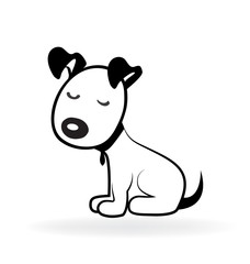 Dog shy puppy terrier logo