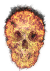 burning human skull, bursted into flames, isolated against the white background