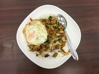 basil pork food background wood table rice restaurant Asian egg spicy hot