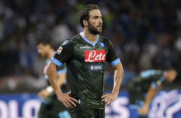 Napoli's Higuain reacts during Italian Serie A match against Sassuolo in Naples