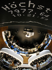 The highest point is pictured at the German share price index DAX board at the stock exchange in Frankfurt