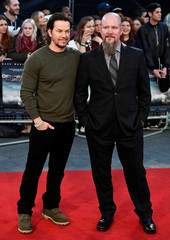 """Actor Mark Wahlberg poses alongside Mike Williams as he arrives at the European premiere of """"Deepwater Horizon"""" at Leicester Square in London"""