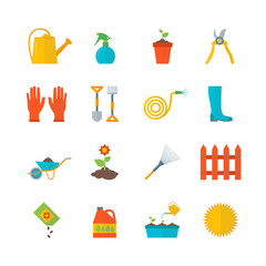 Cartoon Gardening Equipment Color Icons Set. Vector