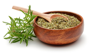 Thyme in wooden bowl with spoon