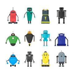 Cartoon Cute Toy Robots Color Icons Set. Vector