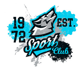 Design for printing on T-shirts, a wolf howling at the moon. Wild animal, predator, talisman, sports identity, logo. Vector illustration, grunge effect