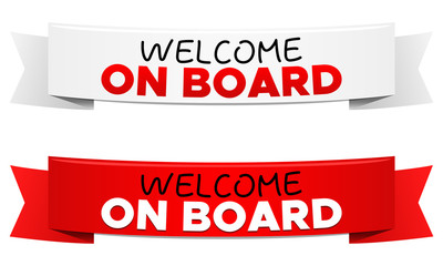 Welcome on Board Ribbon Vector Banners.