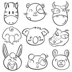 Style animal head doodle hand draw
