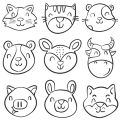 Hand draw animal head style doodles