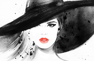 Deurstickers Aquarel Gezicht Beautiful woman in hat. Fashion illustration. Watercolor painting
