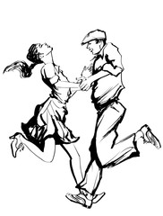 Woman and man dancing swing