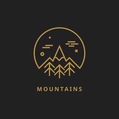 Outline vector logo of mountain