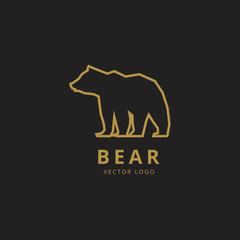 Bear outline logo. Simple vector image