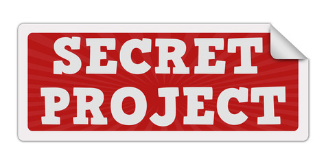 SECRET PROJECT red label text on white