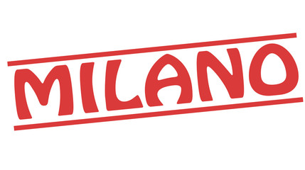 Milano red square grunge retro style sign