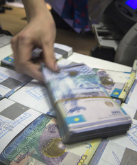 A cashier checks Kazakhstan's Tenge currency notes in a Eurasian Bank branch in Almaty