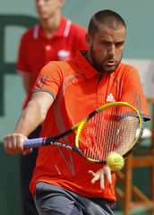 Youzhny of Russia returns the ball to Ferrer of Spain during the French Open tennis tournament at the Roland Garros stadium in Paris