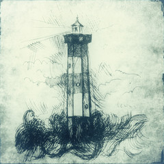 Lighthouse hand draw illustration. Old paper background with lighthouse sketch. Vintage style of lighthouse picture.