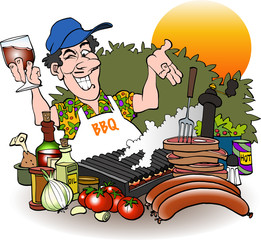 Barbeque grill master inviting cartoon drawing