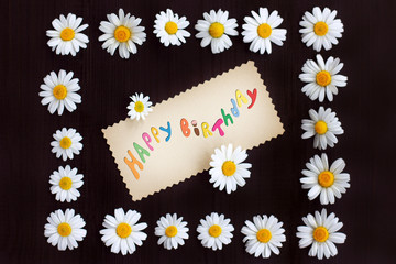 happy birthday/ flat lay with frame of flowers and daisies greeting colored inscription in the center