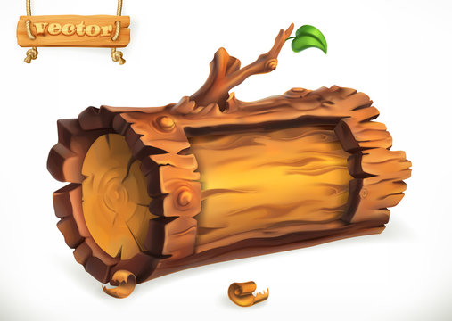 Log, wooden sign. 3d vector icon
