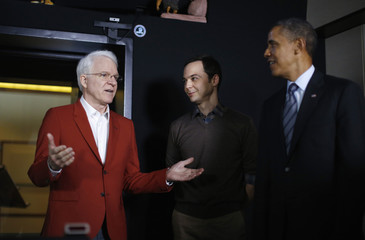 Obama meets Steve Martin and Jim Parsons during tour of Dream Works Animation in Glendale, California